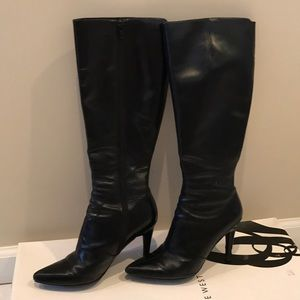 Nine West black leather high boots